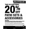 20% off Patio Sets & Accessories: Dining, Seating, Accent Furniture, Gazebos, Canopies, Cusions, Stack Furniture, Um…