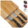 Emeril 3-Piece Bamboo Cutting Board with Storage Drawer and 3-Piece All-Purpose Steel Knife Set-4 Color Choice for $27.9…